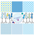 Set of Seamless checkered patterns and mannequins vector image