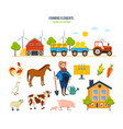 farm warehouse tractor with hay animals fruits vector image
