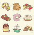 hand drawn pastry and cake set vector image