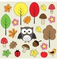 autumnal stickers vector image
