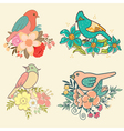birds with flowers vector image