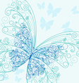 beautiful blue butterflyes in flourish style for i vector image vector image