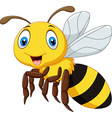 Cartoon smile bee flying isolated vector image vector image