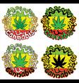 marijuana cannabis jamaican colors design stamps vector image
