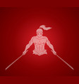 angry samurai standing with swords front view vector image