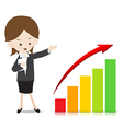 Business woman with growing graph vector image