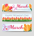 happy woman day banners with tulips vector image