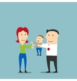 Happy young mother and father with toddler son vector image