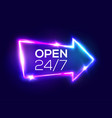 open 24 7 hours 3d retro light bar arrow pointer vector image