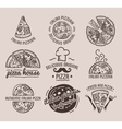 Pizza Label Design Typographic Set vector image