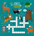 printable animal crossword vector image