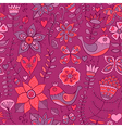 Seamless texture with flowers birds and vector image