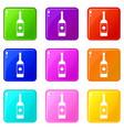 vodka icons 9 set vector image