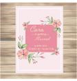 wedding invitation pink flowers pink background ve vector image