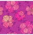 Purple doodle flowers seamless pattern vector image vector image