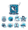 fishing sport club badge set with fish and boat vector image vector image