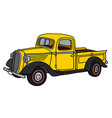 old yellow pick-up vector image