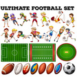 Football theme with players and ball vector image