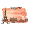 Autumn in ParisLandmarksleaveswatercolor splash vector image