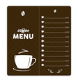 Coffee card with coffee cup on brown background vector image