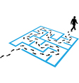 Business man path footprints solution puzzle vector image