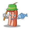 Fishing bacon mascot cartoon style vector image