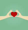 Hands of Woman Holding Red Heart Love Concept vector image
