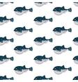 seamless pattern flat fugu pufferfish isolated on vector image