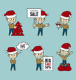 set of santa claus men christmas salebig sale 50 vector image