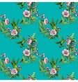 Seamless pattern Colibri and flowers on blue vector image vector image