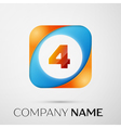 Number four logo symbol in the colorful square on vector image