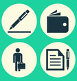 business icons set collection of pen contract vector image