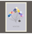 pastel colored winter poster with Christmas tree vector image vector image