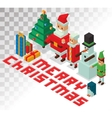 Santa Missis Claus helpers family isometric 3d vector image