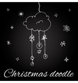 Christmas cloud in doodle style vector image