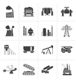 Black Heavy industry icons vector image