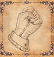 Hand Drawn clenched fist with border vector image