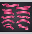 set of pink curved ribbon or banner vector image