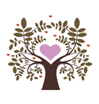 Spring tree with hearts vector image