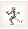 Medieval jester juggling balls sketch style vector image vector image