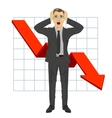 business man grabbed his head Red arrow vector image