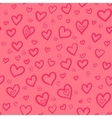 Red doodle hearts seamless pattern vector image