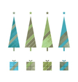 set of christmas trees and gift boxes vector image vector image