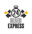 express delivery 24 hours logo design template vector image