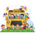 kids with school bus vector image vector image