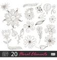 Floral vintage flower pattern set vector image