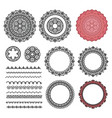 set elements from round mandala frames brushes vector image