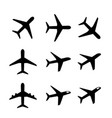 set of airplane icon and symbol in silhouette vector image