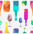 wine bottle and a wineglasses pattern vector image