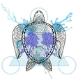 Zentangle stylized Turtle in triangle frame with vector image